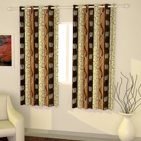 Story@Home Polyester Multicolor Geometric Eyelet Window Curtain(152 cm in Height, Pack of 2)