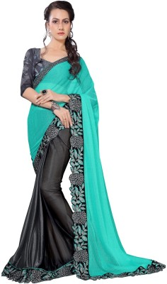 Oomph! Embroidered Bollywood Georgette Saree(Blue) at flipkart