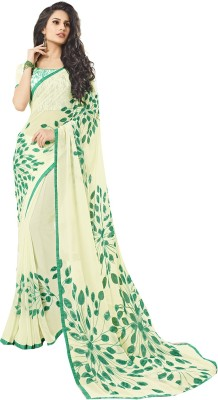 Shaily Retails Self Design Fashion Georgette Saree(White) at flipkart