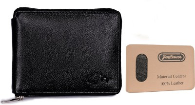 Gentleman Men Black Genuine Leather Wallet(6 Card Slots)