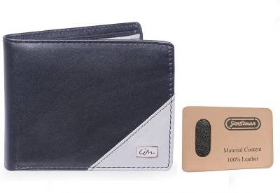 Gentleman Men Black, Grey Genuine Leather Wallet(6 Card Slots)