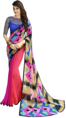 Vency Creation Woven Bollywood Georgette Saree(Blue, Pink) at flipkart