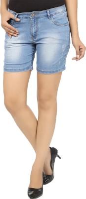 18toeightys Solid Women's Denim Blue Denim Shorts at flipkart