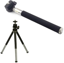 Techvik Adjustable Mini Camera Stand Monopod Stick And Metal Tripod Kit(Multicolor, Supports Up to 500 g)