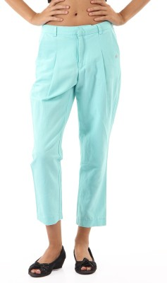 Pepe Jeans Regular Fit Women's Blue Trousers at flipkart