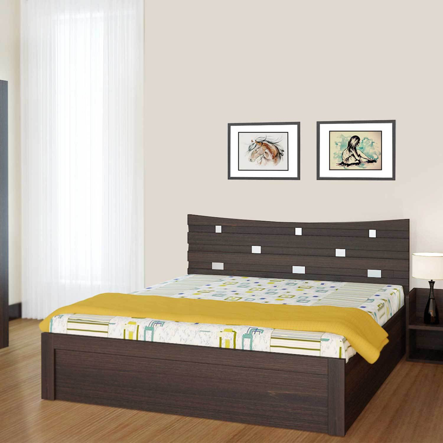 View UNiCOS Crescent Engineered Wood King Bed With Storage(Finish Color -  Midnight Oak) Furniture (UNiCOS)