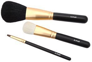 Ai (love) Brush * Kumano Fude Luxury Makeup Brush Set - Liquid Foundation - Powder - Lip - Made In Japan(Pack of 3)