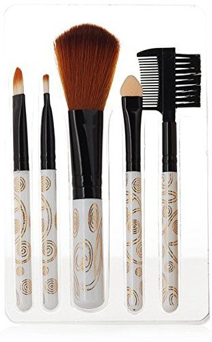 Iebeauty Cosmetic Brush Set Kit - White Fireworks Eyebrow Eyeshadow Makeup(Pack of 5)