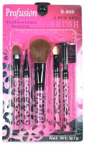 Profusion Pink Leopard Brush Set Kit Make Up Cosmetic (b869) - Free Earring Gift(Pack of 5)