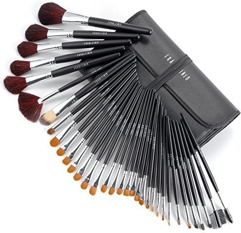 Surepromise Black Cosmetic Makeup Brushes Set W/ Case(Pack of 34)