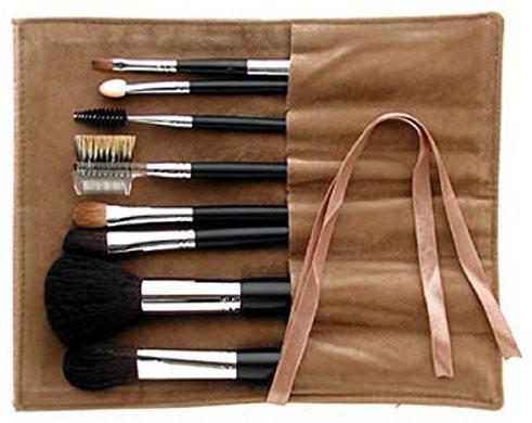 Ai (love) Brush * Kumano Fude Japanese Natural Hair Professional Makeup Brush Set Black Handles(Pack of 8)