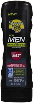 Banana Boat For Men Triple Defense Sunscreen Lotion, Spf 50+, (pack Of 2)(177 ml)