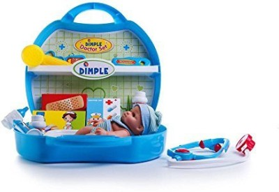 Dimple On-The-Go Deluxe Pretend and Play Blue Doctor Set with 8 Baby Doll and Carrying Case (20 Piece)
