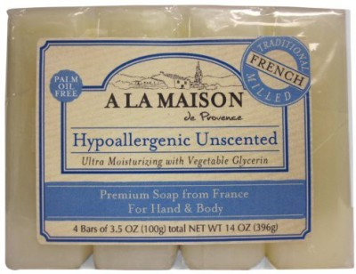 A La Maison Premium Soap, Hypoallergenic Unscented, 4 Bars(100 g, Pack of 3)