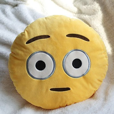 2mbdesign Emoji 32Cm Silly Smiley Pillows Emoticon Round Cushion Pillow Stuffed Plush Soft Toy-Crazy Smiley - 4.3 inch(Yellow)