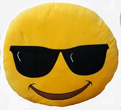 2mbdesign Emoji 32Cm Silly Smiley Pillows Emoticon Round Cushion Pillow Stuffed Plush Soft Toy-Emoji Sunglasess - 5.7 inch(Yellow)