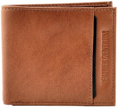Leather Zentrum Men Tan Genuine Leather Wallet(10 Card Slots)