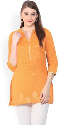 Biba Printed Women's Straight Kurta(Orange) at flipkart