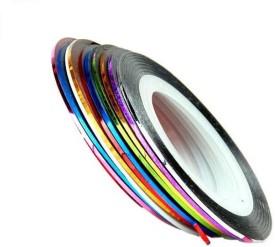 Azzuro 10 Mixed Color Nail Art Striping Rolls Tape Sticker Decoration(Multicolor)