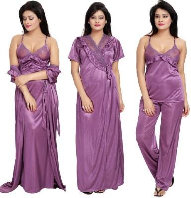 Noty Women's Nighty with Robe, Top and Capri(Purple) at flipkart