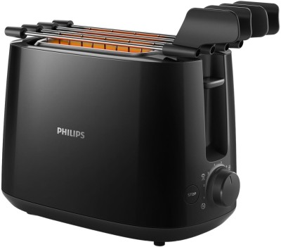 Philips HD2583/90 With Integrated Bun Warming Rack 600 W Pop Up Toaster(Black)