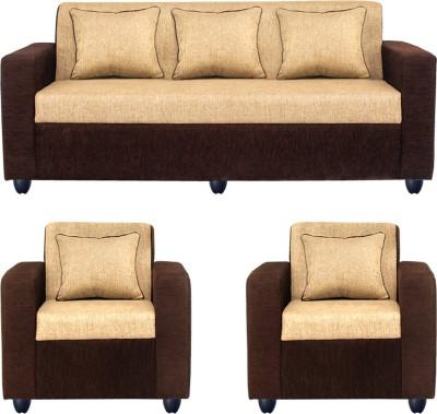 Bharat Lifestyle Solid Wood 3 + 1 + 1 Cream Sofa Set