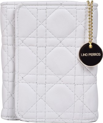 Lino Perros Women White Artificial Leather Wallet(6 Card Slots)