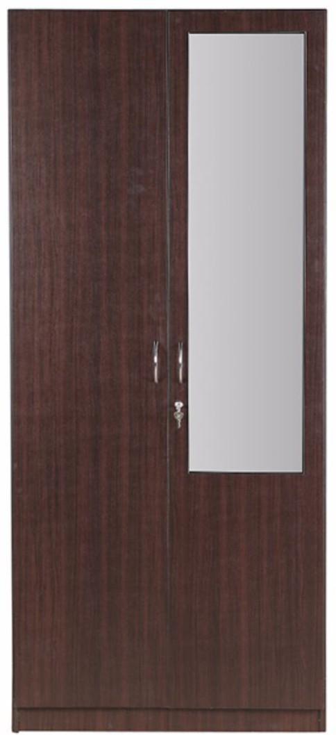 View HomeTown Zina Engineered Wood 2 Door Wardrobe(Finish Color   Walnut,  Mirror Included