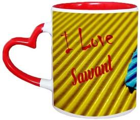 Muggies Magic Sawant Love Name Design Ceramic Mug(325 ml)