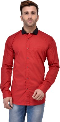 Azy Fabrics Mens Solid Casual Red, Black Shirt