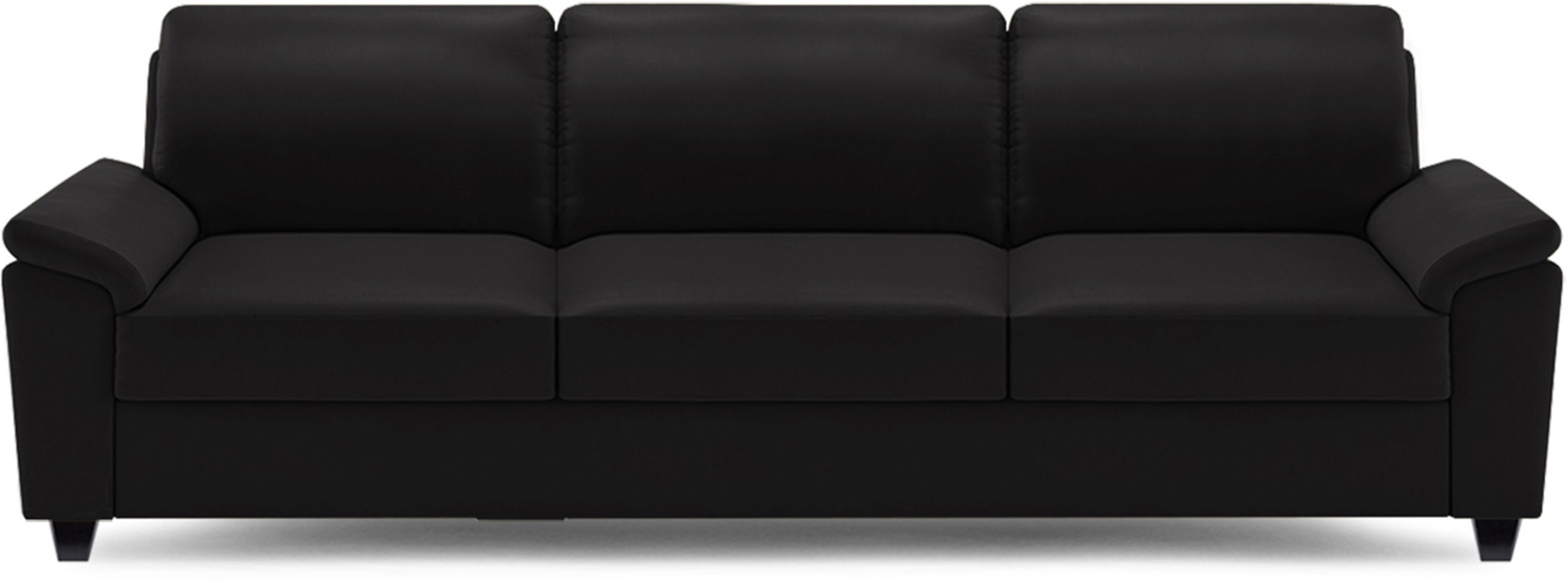 View Dolphin Oxford Leatherette 3 Seater Sofa(Finish Color - Black) Furniture (Dolphin)