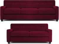 Dolphin Solitaire Fabric 3 + 2 Maroon Sofa Set(Configuration - Straight)