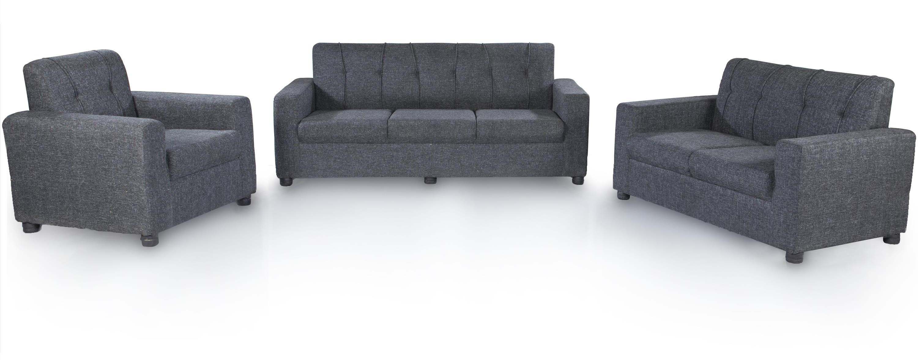View Furnicity Fabric 3 + 2 + 1 Grey Sofa Set(Configuration - Straight) Furniture (Furnicity)
