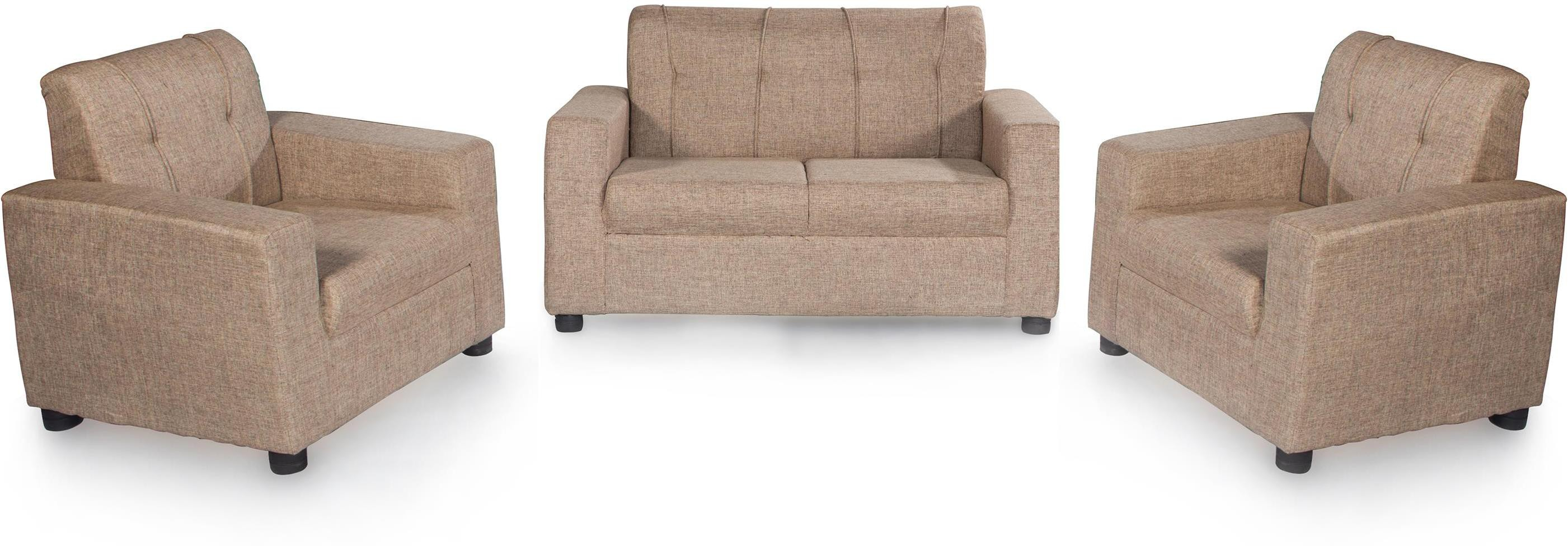 View Furnicity Fabric 2 + 1 + 1 Beige Sofa Set(Configuration - Straight) Furniture (Furnicity)