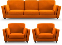 Dolphin Cabana Fabric 3 + 1 + 1 Orange Sofa Set(Configuration - Straight)