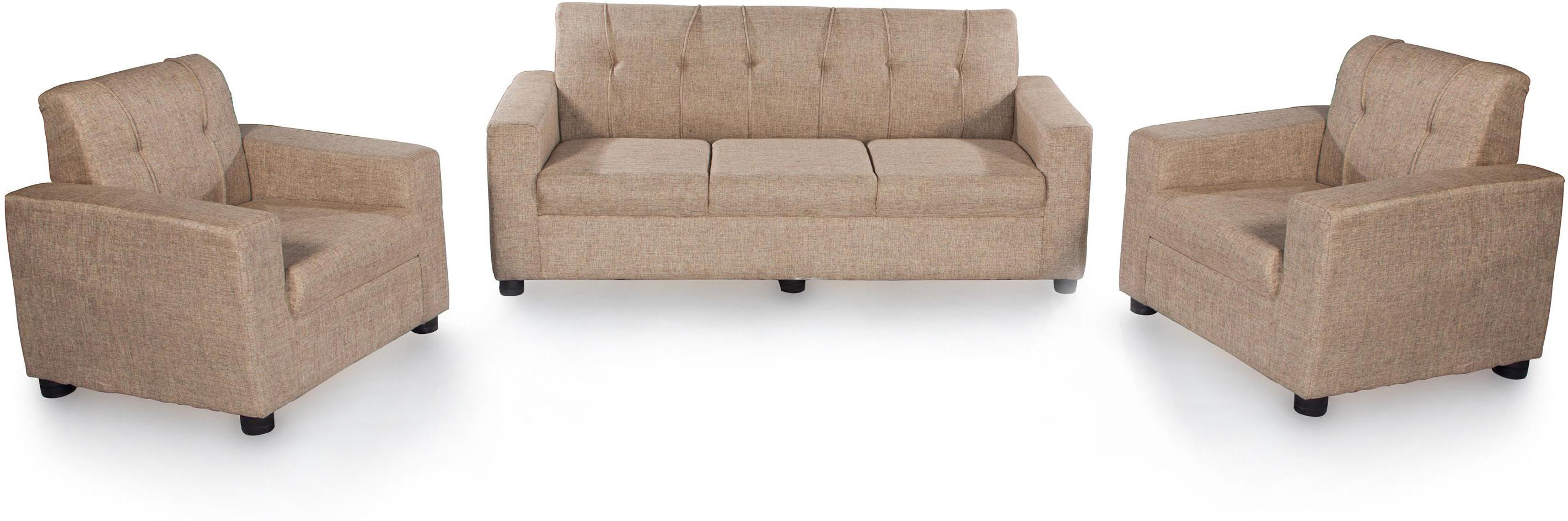 View Furnicity Fabric 3 + 1 + 1 Beige Sofa Set(Configuration - Straight) Furniture (Furnicity)