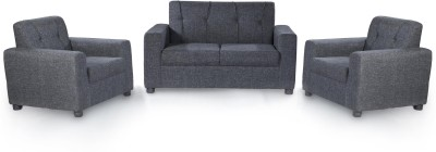 Furnicity Solid Wood 2 + 1 + 1 Grey Sofa Set