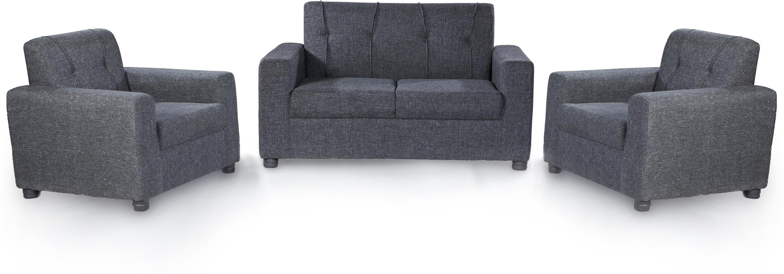 View Furnicity Fabric 2 + 1 + 1 Grey Sofa Set(Configuration - Straight) Furniture (Furnicity)