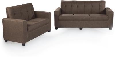 Furnicity Solid Wood 3 + 2 Brown Sofa Set