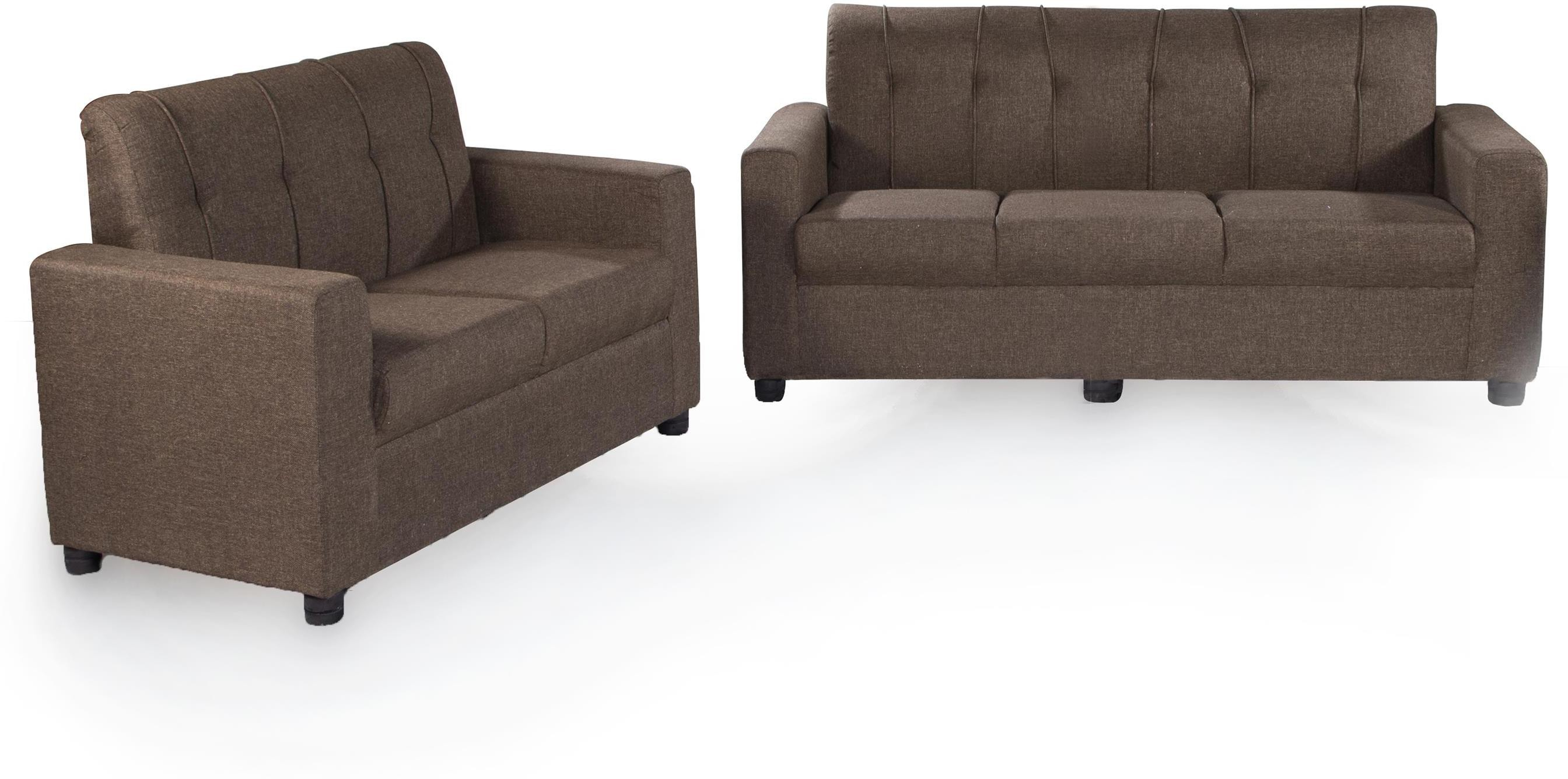 View Furnicity Fabric 3 + 2 Brown Sofa Set(Configuration - L-shaped) Furniture (Furnicity)