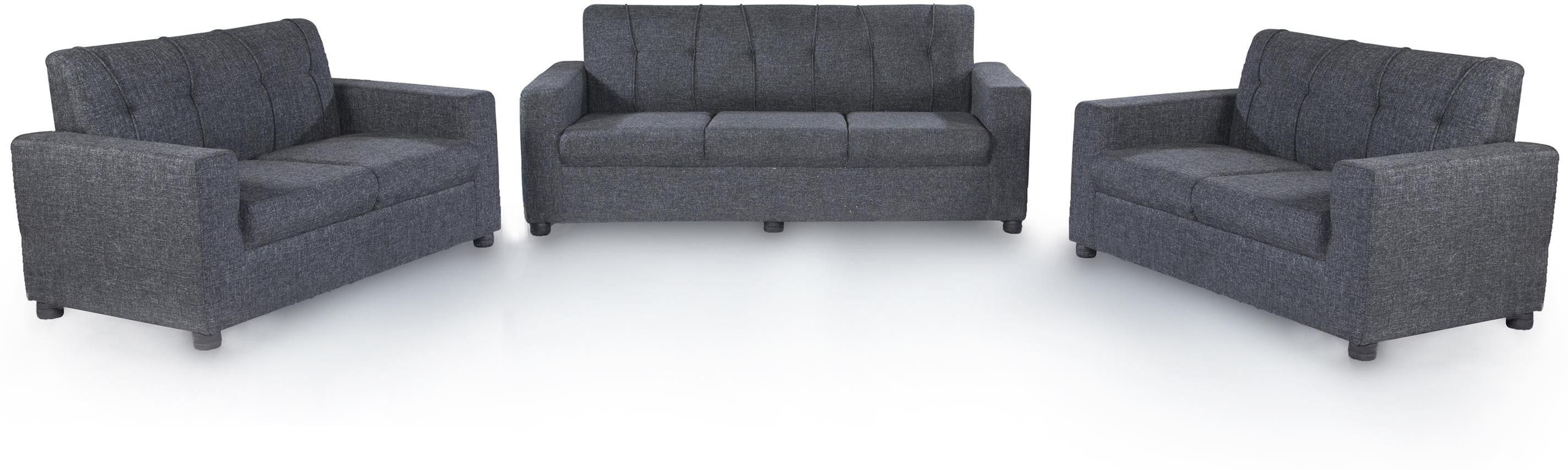 View Furnicity Fabric 3 + 2 + 2 Grey Sofa Set(Configuration - Straight) Furniture (Furnicity)