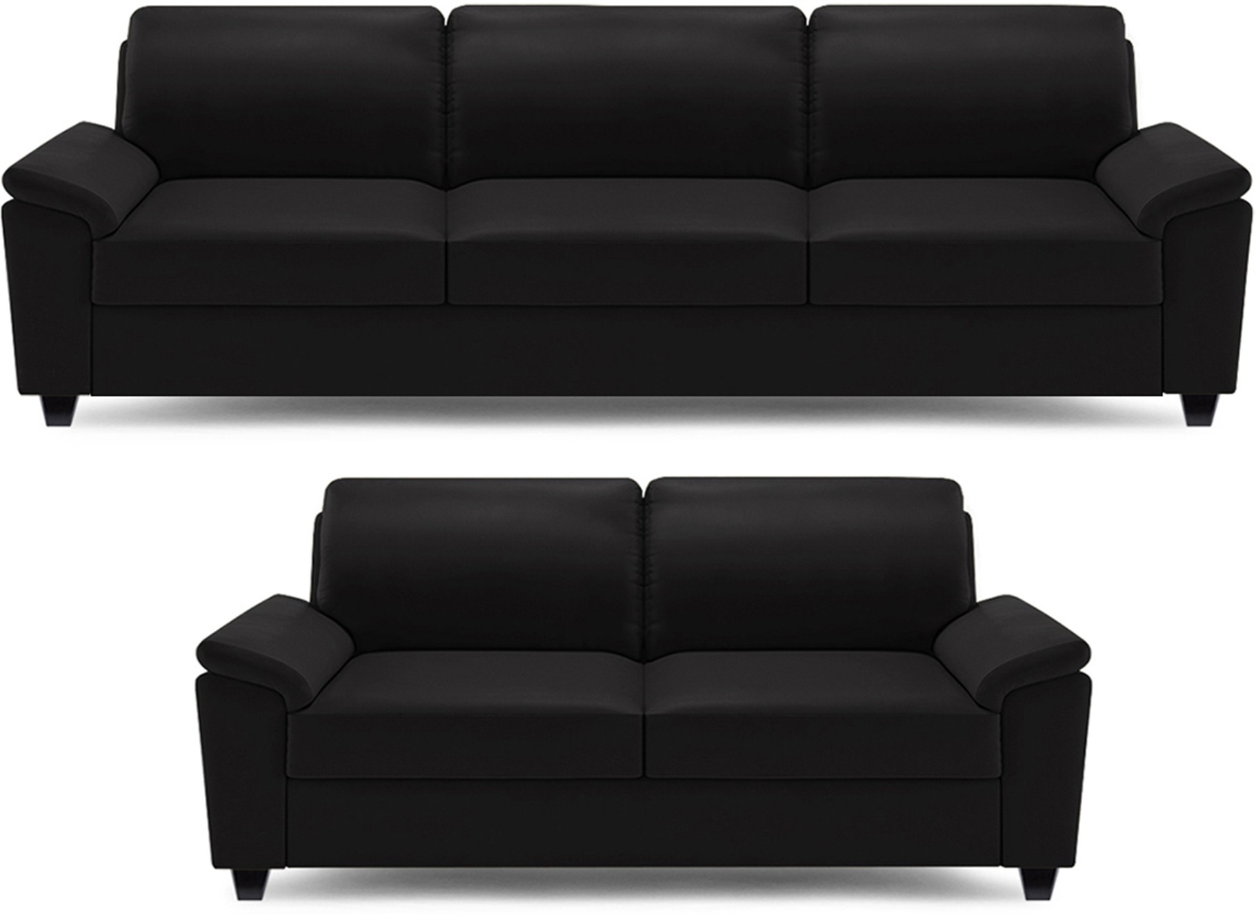 Peachy Dolphin Oxford Leatherette 3 2 Black Sofa Set Evergreenethics Interior Chair Design Evergreenethicsorg