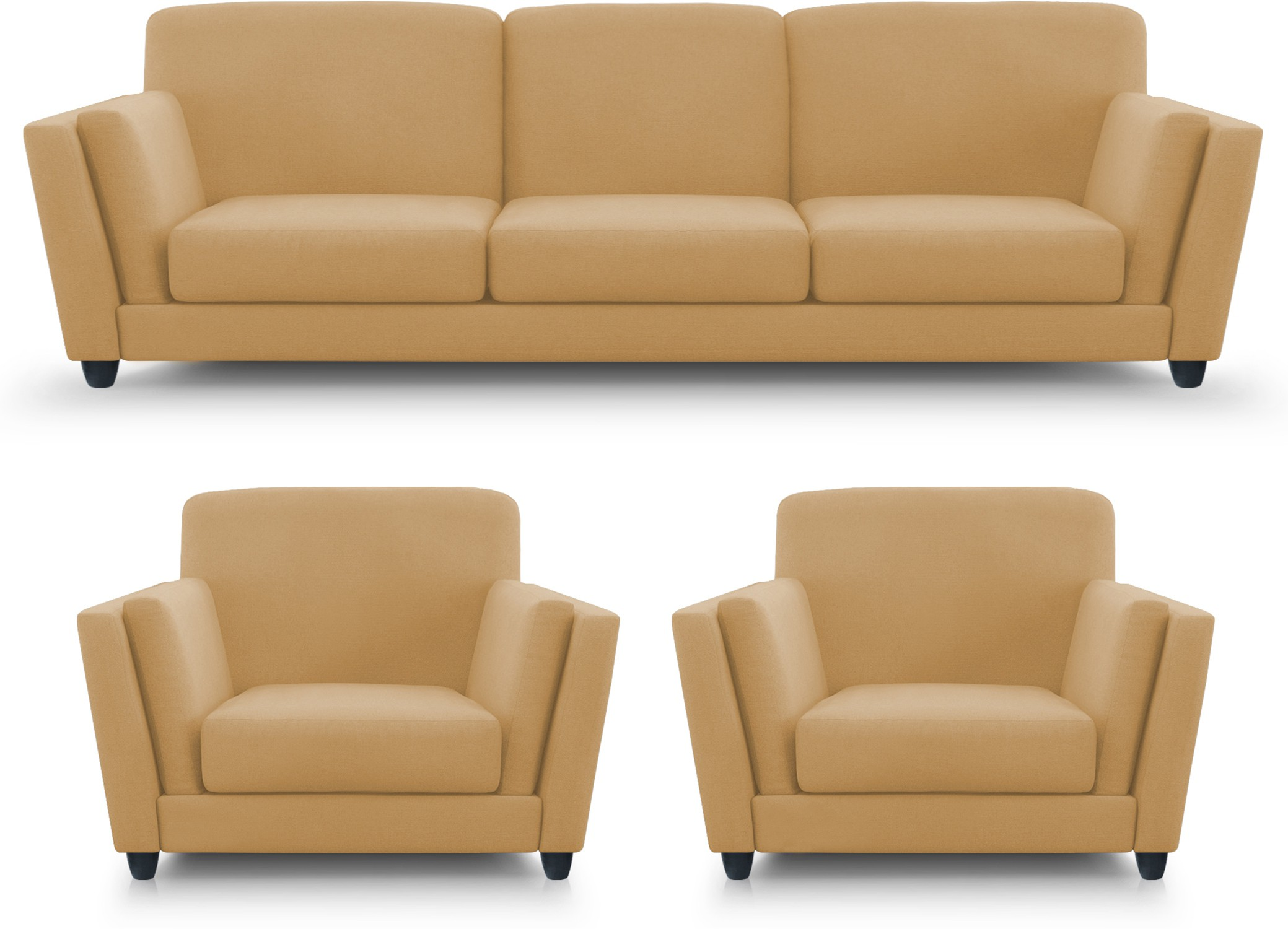 Dolphin Cabana Fabric 3 + 1 + 1 Beige Sofa Set(Configuration - Straight)