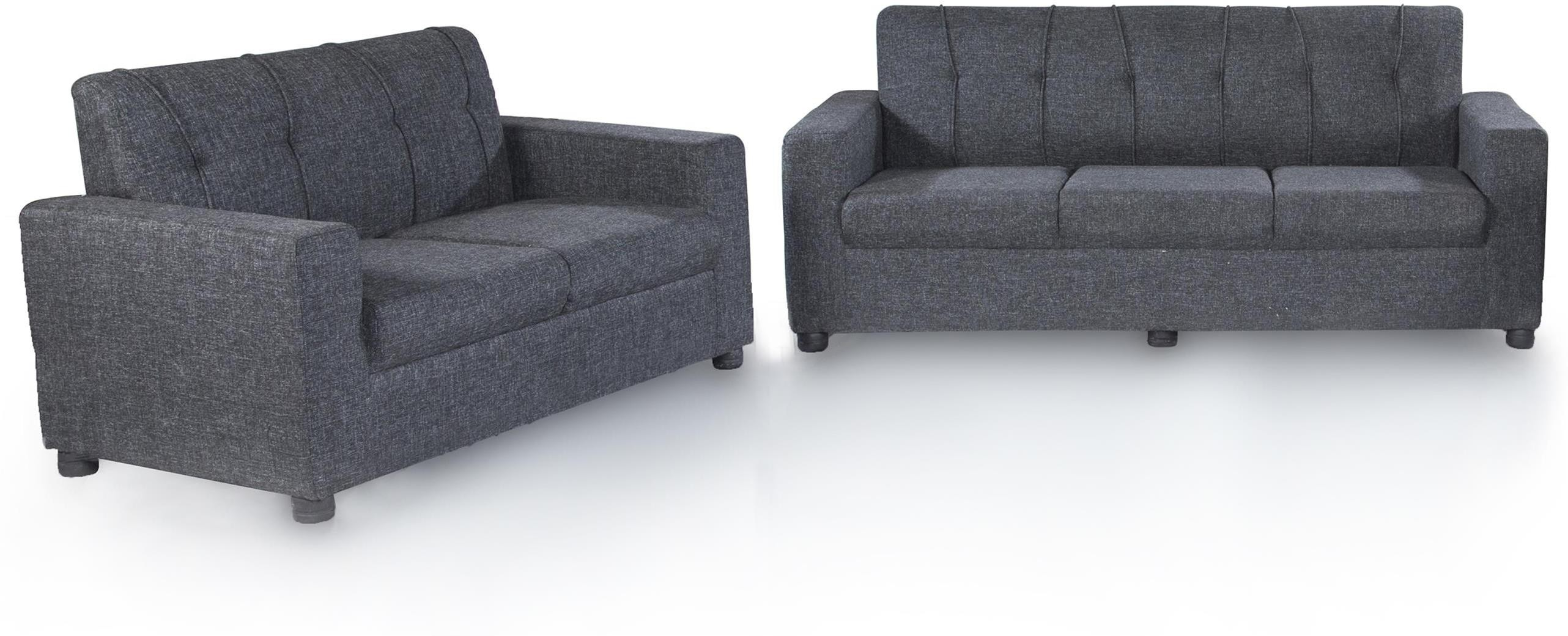 View Furnicity Fabric 3 + 2 Grey Sofa Set(Configuration - L-shaped) Furniture (Furnicity)