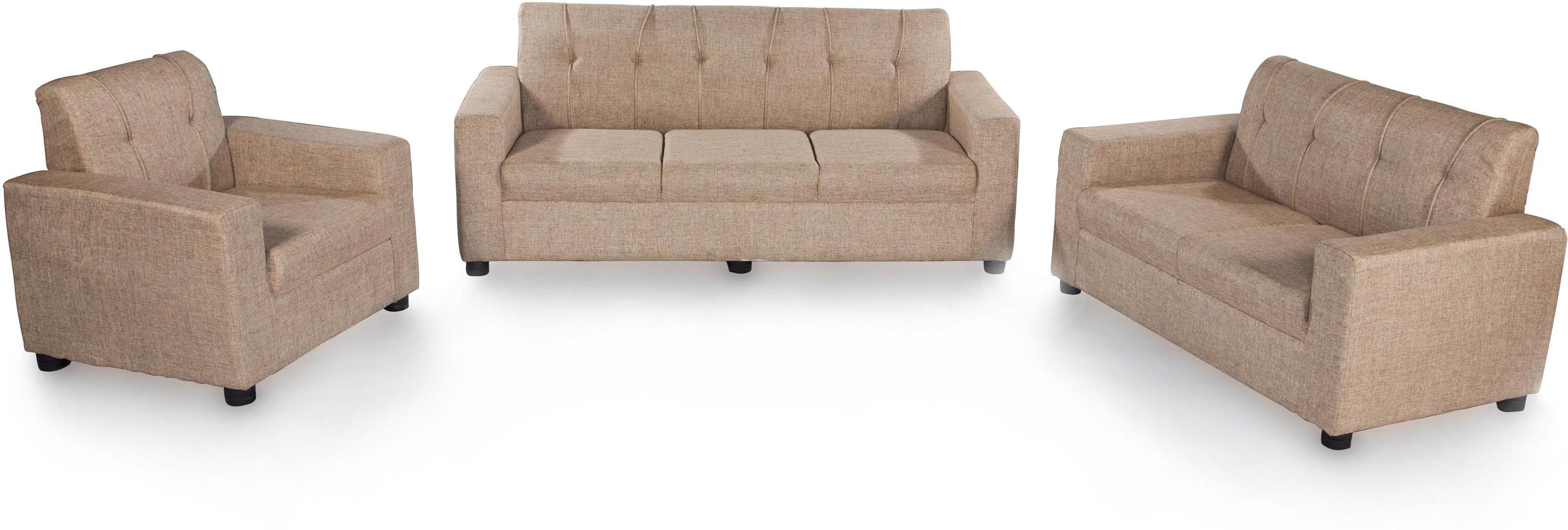 View Furnicity Fabric 3 + 2 + 2 Beige Sofa Set(Configuration - Straight) Furniture (Furnicity)
