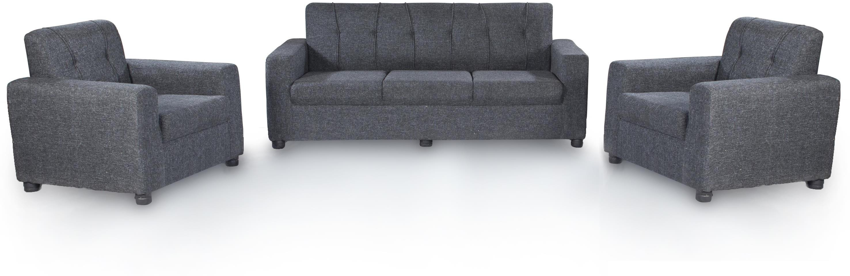 View Furnicity Fabric 3 + 1 + 1 Grey Sofa Set(Configuration - Straight) Furniture (Furnicity)