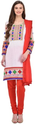 Style Amaze Cotton Embroidered Salwar Suit Dupatta Material(Un-stitched) at flipkart