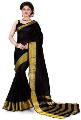 Dream Beauty Fashion Striped Daily Wear Art Silk Saree(Black)