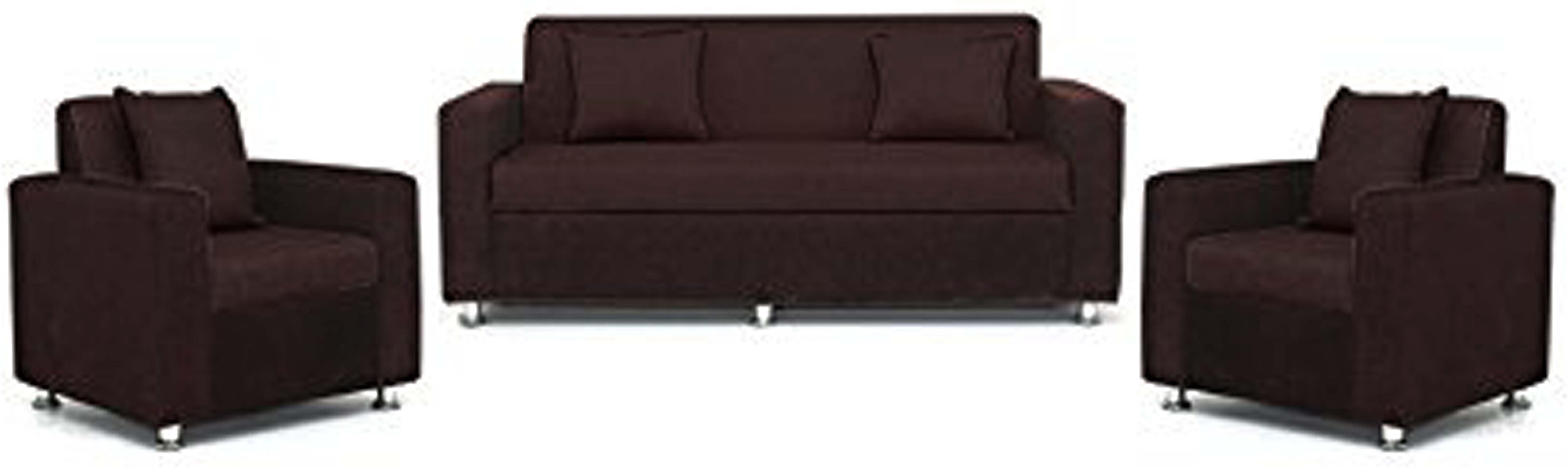 View Comfy Sofa Classy Fabric 3 + 1 + 1 Brown Sofa Set(Configuration - Straight) Furniture (COMFY SOFA)