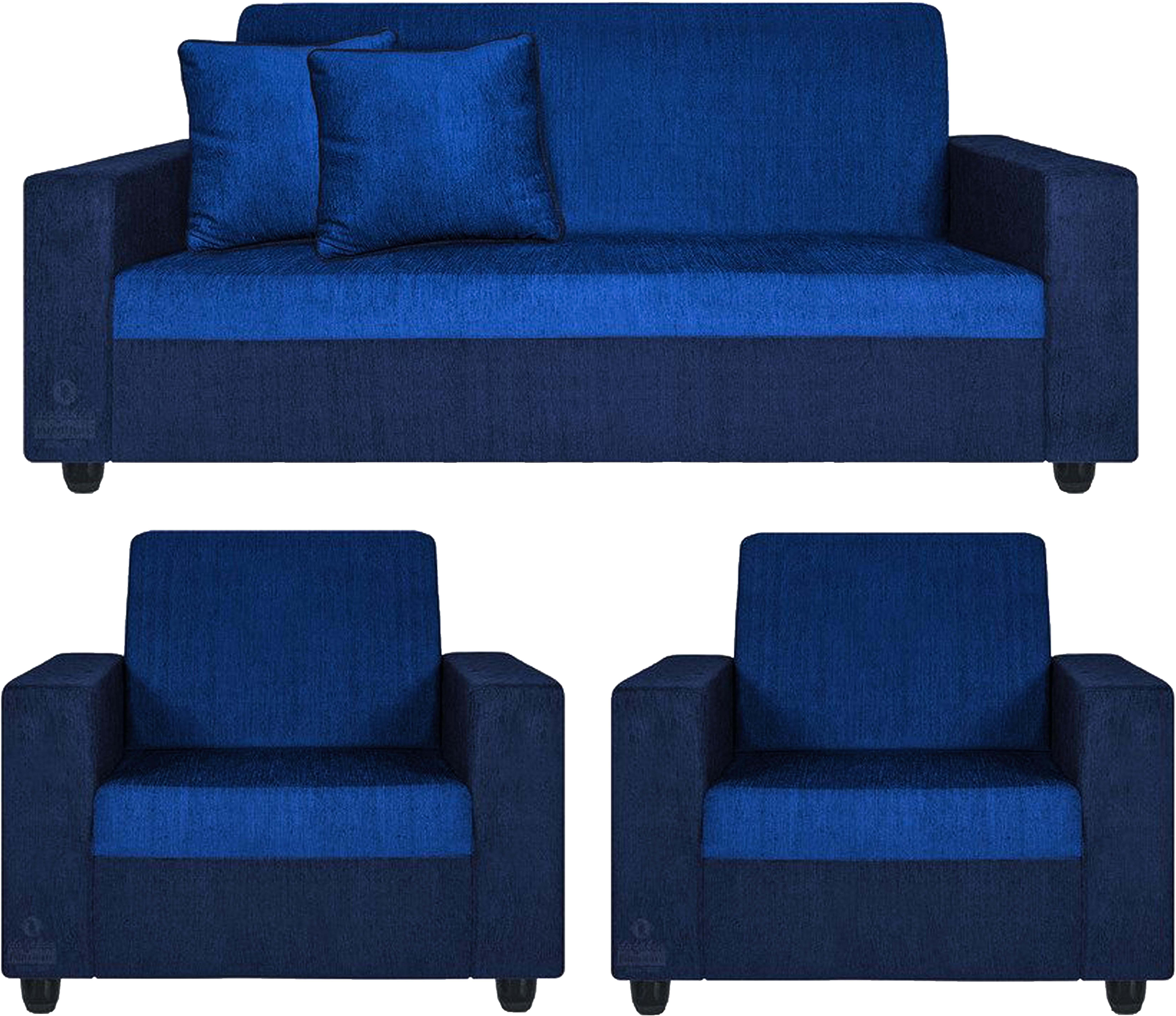 View Comfy Sofa Classy Fabric 3 + 1 + 1 Blue Sofa Set(Configuration - Straight) Furniture (COMFY SOFA)